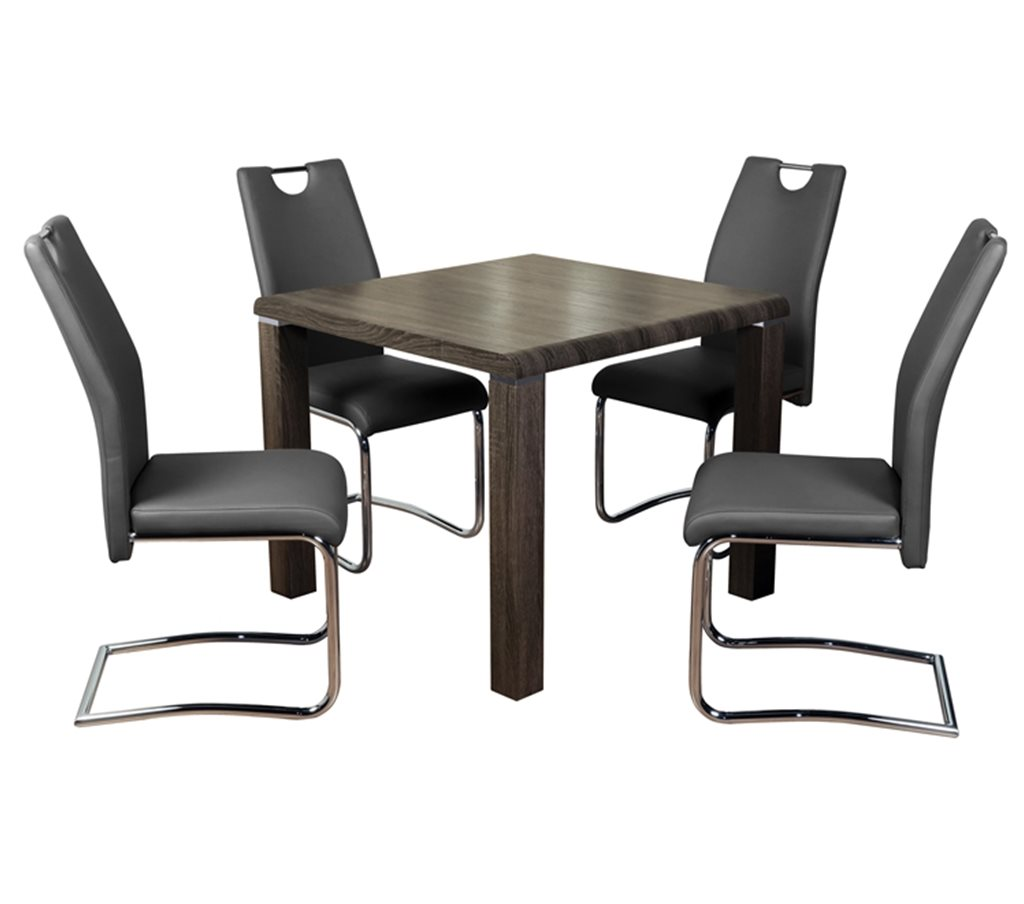 Encore Dining Set Charcoal And Claren Grey Chairs Mutual
